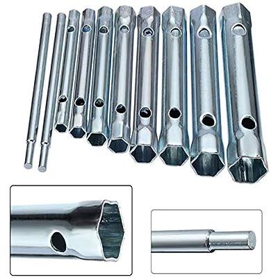 10Pcs Dual-Ended Wrench Socket Plumber Back Nut Tap Spark Plug Spanner Set Extended Spark Plug Wrench 6-22mm: Automotive