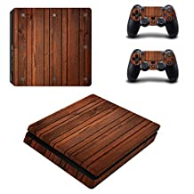 SKINOWN PS4 S Slim Skin Wood Grain Oak Sticker Vinly Decal for Sony PlayStation 4 S Slim Console and Controller