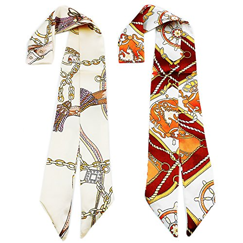 Skinny Neckerchief Scarf for Handbag Handle Silk Scarf Bracelet for Women by Bellagione (Isabella)