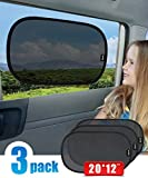"ANTOER Static Cling Car Sun Shades (3 Px) -20 X 12"" Block over 97% Harmful UV Rays - Sun and Glare Protection For Your Child - Baby Car Side Window SunShades"