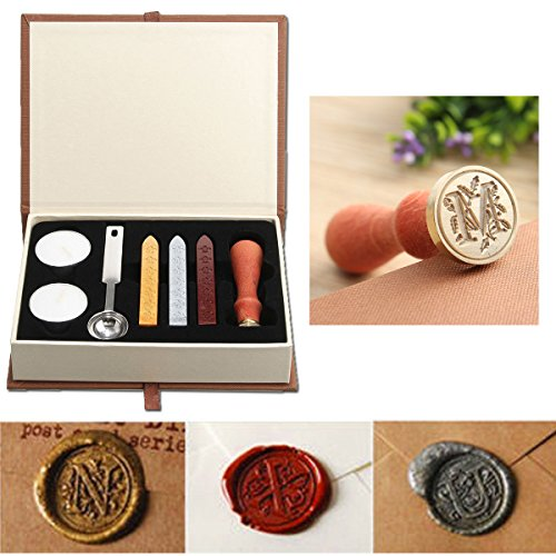 Seal Wax Kit,PUQU Vintage Initial Letters A-Z Alphabet Wax Badge Seal Stamp...
