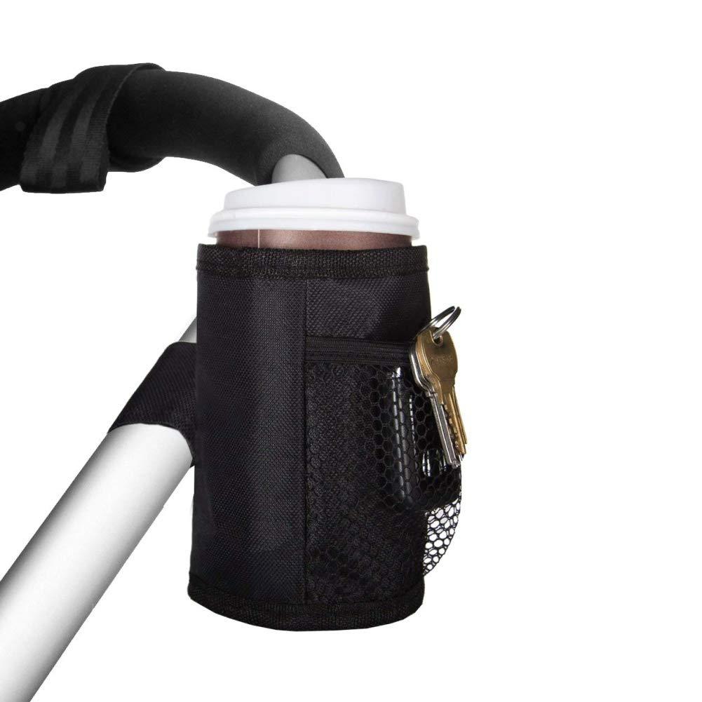 Leezo - Soporte Universal para Cochecito de Bebidas, Bolsa de Almacenamiento con Bolsillos de Malla para Tarjetas de teléfono móvil, Llaves, Dinero – Negro Dinero - Negro