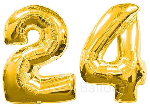 (ZIYAN 40 Inch Giant 24th Gold Number Balloons,Birthday/Party)