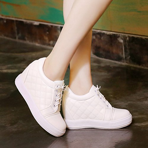 Warm Boots Wedge Agodor Heels White Women's Shoes Ankle Mid up Winter Lace Heel Platfotm SvHnBSp