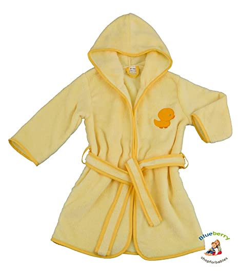 b34f3e122a BlueberryShop Embroidered Luxurious Hooded Soft Warm and Fluffy Fleece  Bathrobe Robe Dressing Gowns 1-7 Yrs ( 3-4Yrs ) ( 3 - 4 Yrs ) Yellow   Amazon.ca  ...