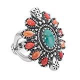 American West Sterling Silver, Green Turquoise, Red & Orange Spiny Oyster Cluster Ring