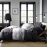 NTBAY 3pc Microfiber Queen Duvet Cover Set, Reversible Gray Stripe Deal (Small Image)