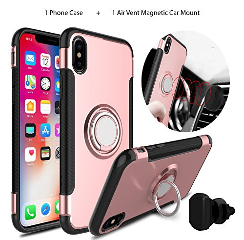 IPHONE X Rugged Finger Ring KickStand Case And Air Vent Magnetic Car Mount / Armour Ring Buckle Case / Anti Slip 360 Degree Rotating Finger Ring Holder and Magnet Car (Finger Magnet)
