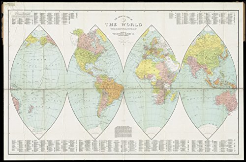 Historic Map | 1919 The official map of the world : showing the four quarters of the globe on the quarter-spherical or orange peel projection | Antique Vintage - Spherical Globe Antique
