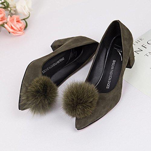 Xue satén zapatos zapatos Luz punta solo gruesos alto de con de verde de felpa los de Qiqi El zapatos zapatos de tacón trabajo 08qr7nw0p