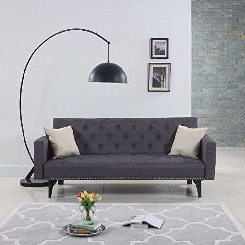 Modern Tufted Fabric Sleeper Sofa Bed with Nailhead Trim, Grey (Leather Loveseat With Nailhead Trim)