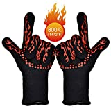 BBQ Grill Gloves 1472℉ EN407/EN420 CE Heat Resistant - High-Temp Barbecue Grilling Potholders - Oven Silicone Glove Fireproof for Smoker Baking - Heat-Insulated Cooking Mitt, X-Long 1 Pair (Red)