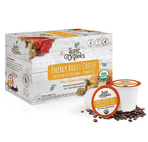 Kitchen & Housewares : Super Organics Energy Boost Coffee Brew Cups with Superfoods & Probiotics | Keurig K-Cup Compatible | Energizing, Stamina | Medium Roast, USDA Certified Organic, Vegan, Non-GMO & Fair Trade, 12ct