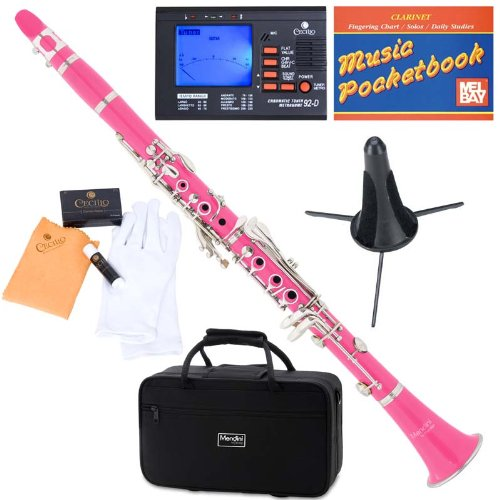 Mendini ABS B-Flat Clarinet, Pink and Tuner, Case, Stand, Pocketbook - MCT-PK+SD+PB+92D Mendini by Cecilio