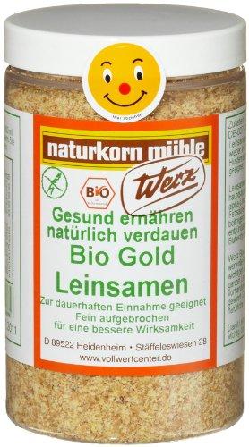 Werz Gold-Leinsamen-Schrot gelb glutenfrei, 2er Pack (2 x 175 g Dose) - Bio