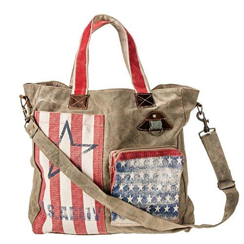 USA Bag America Flag Vintage Washed/Waxed Canvas Handmade Bag, Handbag, Travel Bag, Shoulder Bag, Big Bag, Gym bag, Duffle Bag by Priti