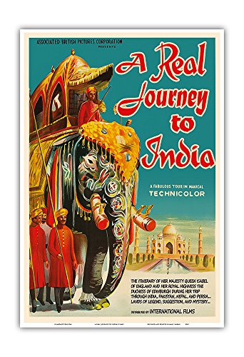 A Real Journey To India - Queen Elizabeth's trip through India, Pakistan, Nepal and Persia - Vintage Film Movie Poster c.1940s - Master Art Print - 13in x - Films India