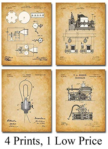 Original Thomas Edison Patent Prints - Set of Four Photos (8x10) Unframed - Makes a Great Gift Under $20 for Inventors or Office Decor