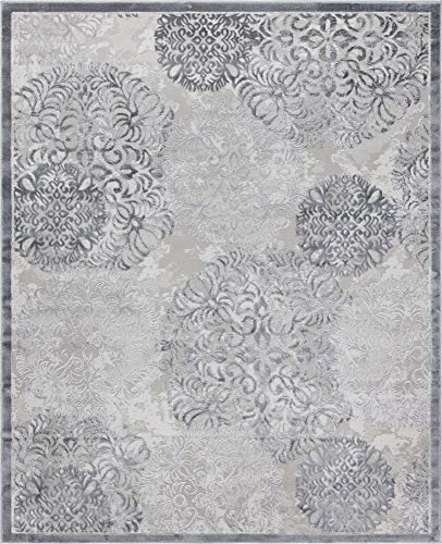 Unique Loom Aberdeen Collection Traditional Tone-on-Tone Textured Vintage Gray Area Rug (8' 0 x 10' 0)