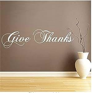 Dar gracias de acción de gracias adhesivo para pared vinilo de pared citas pegatinas de pared palabras gráfico de pared mural Home Art Decor Negro, blanco, 37.5cm by 142.5cm