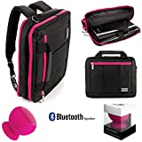 Executive Travel Carrying Bag, Messenger Bag & Backpack For Samsung Galaxy Tab PRO / Galaxy Note PRO 12.2'' Tablet + Pink Bluetooth Suction Speaker