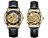Couple Watches,Dragon and Phoenix Luxury Stainless Steel His and Hers Automatic Gold Wrist Watch 2 pcs (Black)