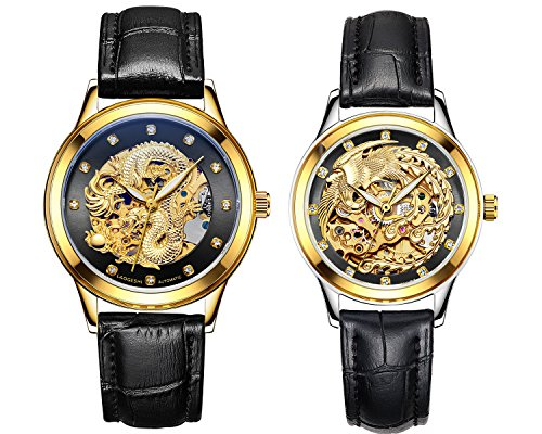 - Couple Watches,Dragon and Phoenix Luxury Stainless Steel His and Hers Automatic Gold Wrist Watch 2 pcs (Black)