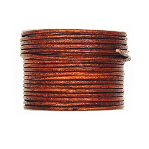 Glory Qin Distressed Brown Color Soft Round Genuine Jewelry Leather Cord Leather Rope (2mm 20 Yards)