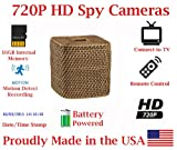 SecureGuard 30 Day Battery Powered Wicker Tissue Box Spy Camera