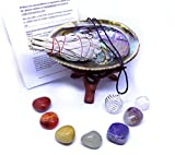 Chakra Stone Set with 7 Crystals, Sage, Abalone Shell, Wood Stand, & Cage Pendant Spiritual Healing Crystal, Smudge Gift Kit