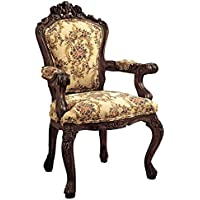 Design Toscano Carved Rocaille Fabric Arm Chair
