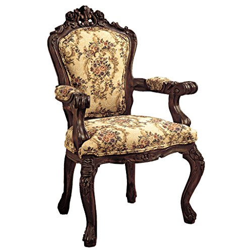 Beau Design Toscano Rocaille Carved Victorian Armchair, 41 Inch, Mahogany, Cherry