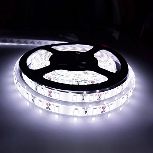 Bogao16.4ft LED Flexible Light Strip, 300 Units SMD 5630 LEDs, 12V DC waterproof, Light Strips, LED ribbon, DIY Christmas Holiday Home Kitchen Car Bar Indoor Party Decoration (White)