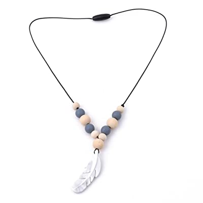 Myhouse Baby's Silicone Teether Feather Shape Teether Necklace Baby Appease Molar Gum (Gray) : Baby