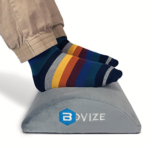 Bovize - Foot Rest Cushion for Under Desk - Ergonomic Footrest Perfect for Your Feet at Office or Home - Firm Comfort Foam - Anti-Slip Low Surface and Low Profile for Leg Clearance by Bovize