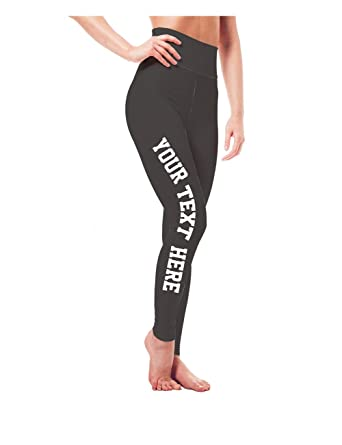 57d2842fae6 Custom Workout Leggings - Design Your Own Yoga Pants - Spandex   High  Waisted at Amazon Women s Clothing store
