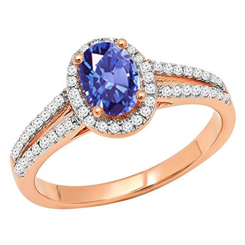 Dazzlingrock Collection 14K 7X5 MM Oval Tanzanite & Round White Diamond Bridal Halo Engagement Ring, Rose Gold, Size 7 ()