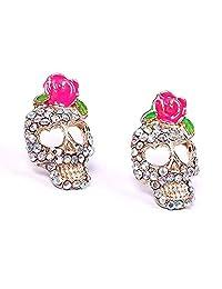 BODYA colorful Cz Crusted Skull Sugar Pink Flower Floral Rose Stud Earrings love heart design Retro women girls Earrings
