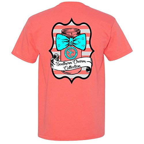 Mason Jar Bowtie Southern Charm Collection on a Coral Short Sleeve T Shirt - -