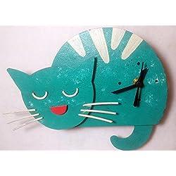 Oxidos Sleeping Cat Recycling Fair Trade Pendulum Wall Clock (Turquoise Blue)