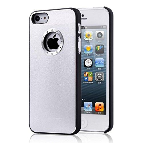 Di buona qualità Iphone 5 / 5S qualità cassa del diamante in alluminio bling copertura con il lato nero Rim per iphone 5 / 5S Argento Semplice spazzolato