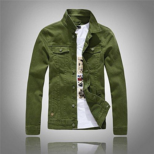 jacket coreana la de de chaqueta versión lavado marea manga manga larga de de de chaqueta agua de de con denim de Chaqueta hombres gris YLSZ dril de Serie L larga algodón dril verde algodón daq7d6