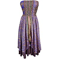 Mogul Womens 2 In 1 Strapless Dress Gypsy Maxi Skirts Gypsy Recycled Printed Vintage Sari Two Layer
