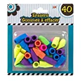 Pencil Top Erasers Bright Assorted Colors Pack of 40