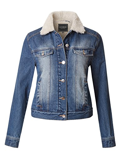 Fitted Denim Jacket - LE3NO Womens Classic Fitted Long Sleeve Faux Fur Collar Denim Jacket