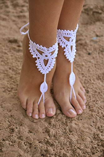 Beach wedding White Crochet Barefoot Sandals, Nude shoes, Foot jewelry, Bridal barefoot sandal, Bridal lace shoes, Wedding accessory for Bridesmaids