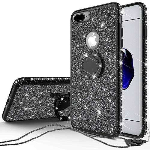 Touch 1 Ipod - [GW USA] Glitter Ring Stand Case for iPod Touch 6/iPod Touch 5 Case,Bling Diamond [2 in 1] Hard TPU Case for Apple iPod Touch 5/6th Generation - Black