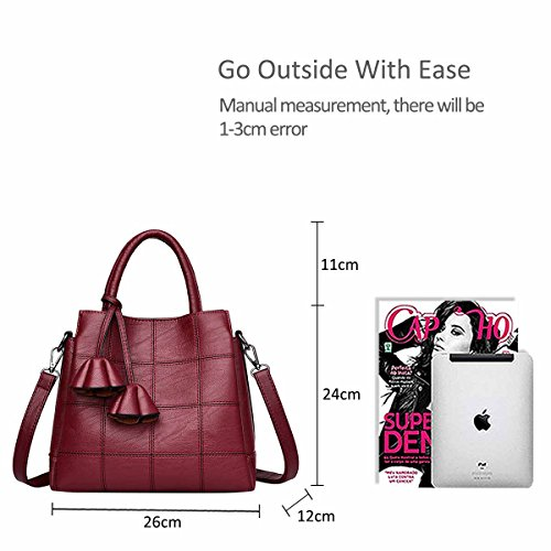 Female Lovely Leather Women Crossbody NICOLE Trendy Shoulder Pink amp;DORIS Red Bag Wine for a Light Bronze Handbags zwpSXq