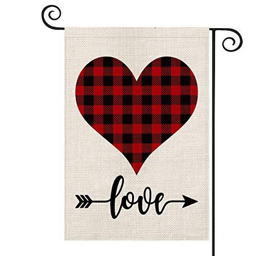AVOIN Buffalo Plaid Love Heart Garden Flag Vertical Double Sized, Holiday Valentine's Day Anniversary Wedding Birthday Arrow Burlap Yard Outdoor Decoration 12.5 x 18 Inch