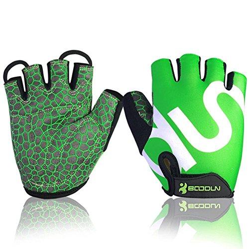 Ezyoutdoor Green Cycling Gloves Mountain Bike Gloves Road Racing Bicycle Gloves Light Silicone Gel Pad Riding Gloves Half Finger Biking Gloves Men/Women Work Gloves (Small)